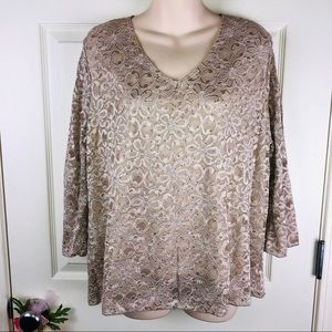 Brittany Black sparkle gold lace top pxl xl petite